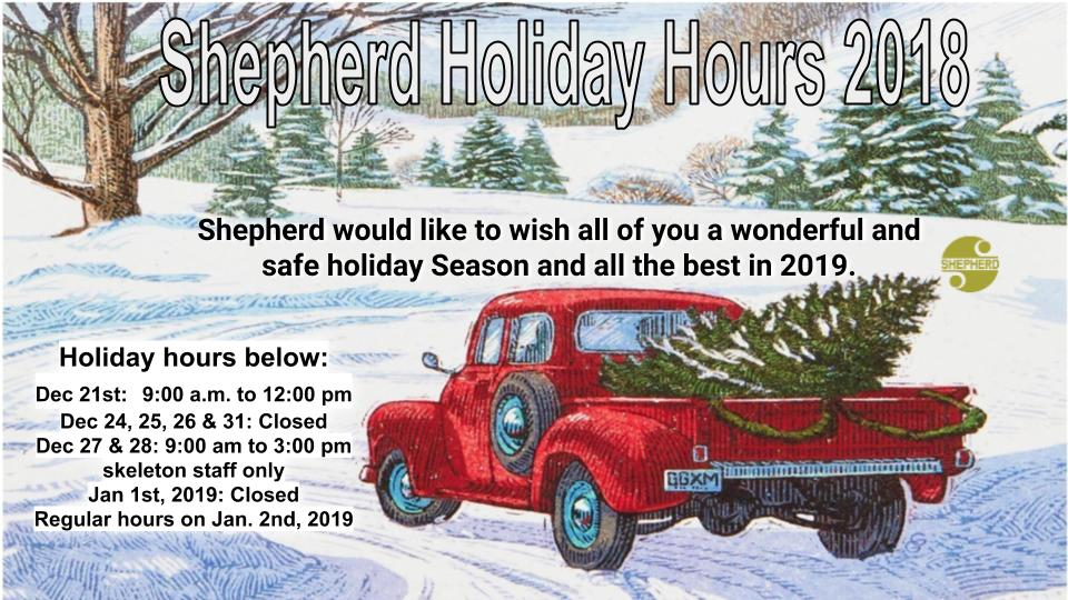 Shepherd Holiday Hours 2018