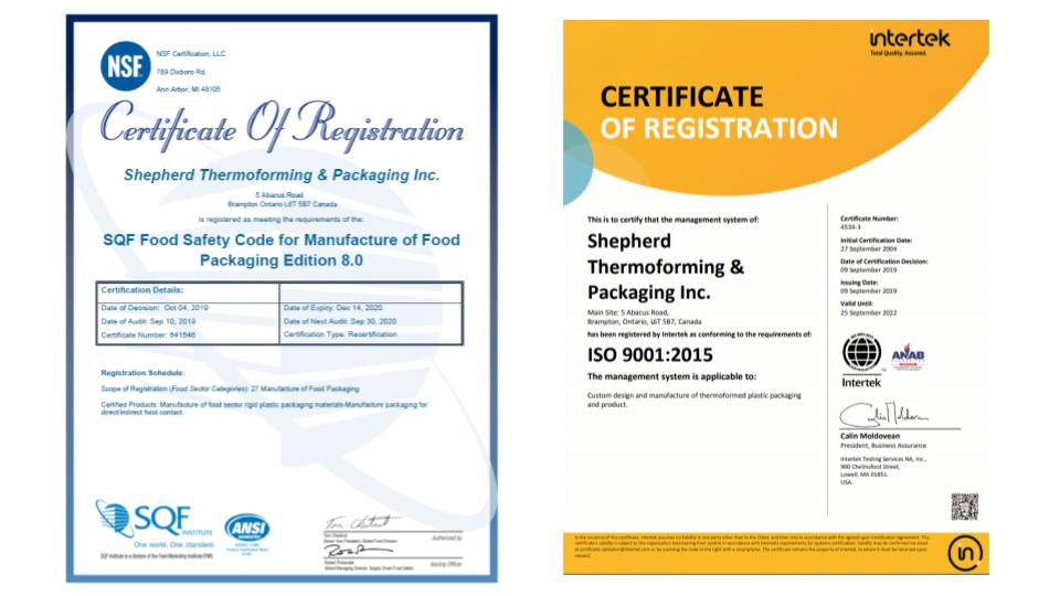 ISO & SQF re-Certification